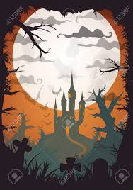 halloween orange old movie style poster castle at night with