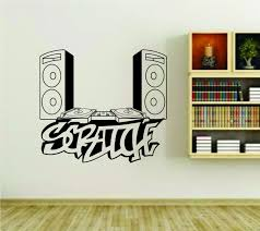 dj speakers and turntable scratch graffiti writing vinyl wall
