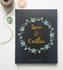 guest books custom mint gold floral wedding guest book stationery paper