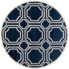 Indoor Outdoor Rugs Overstock by Safavieh Amherst Navy Ivory 5 Ft X 5 Ft Indoor Outdoor Round