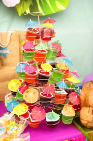 luau birthday party hawaiian luau birthday party ideas mini umbrella cupcake stands