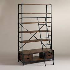 Distressed Wood Bookcase And Brown Metal Bookcase And Ladder