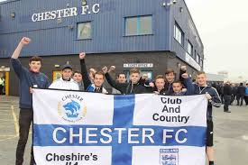 vauxhall lookers in pictures chester and wrexham fans ahead of kick off chester