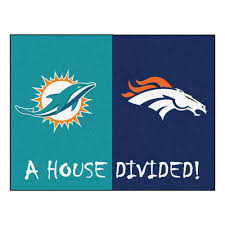 Miami Dolphins Rug Dolphins Denver Broncos House Divided Mat