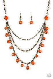 orange bead necklace images Paparazzi quot you the glam quot orange beaded brass necklace earring jpg
