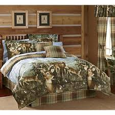 Earth Tone Comforter Sets Whitetail Deer Buck Cabin Hunting Lodge Plaid Earthtone Queen Bed