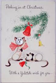 vintage 60s hallmark button face siamese cat christmas greeting