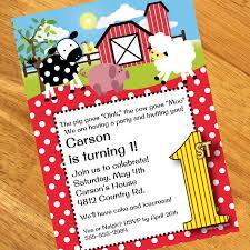farm 1st birthday personalized invitations