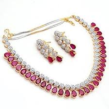 red stone gold necklace images Buy vanshika jewels american diamond necklace set with red stone jpg
