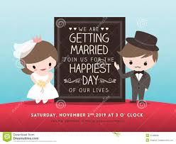 wedding backdrop board wedding invitation board with groom and stock vector