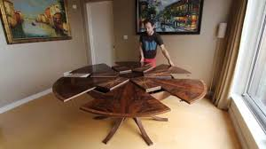 Dining Room Tables With Built In Leaves Expanding Circular Dining Table In Walnut Youtube