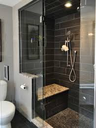 Slate Tile Bathroom Shower Bathroom Shower Designed With Black Slate Tiles And Built In Bench