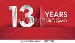 new years or birthday party invitation stock image 13 years anniversary celebration logo flat stock vector 545977612