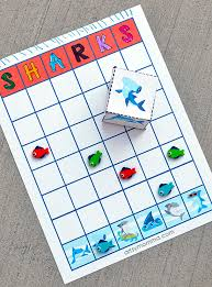 printable shark graphing activity includes shark dice artsy momma