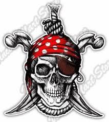 pirate skull crossbones jolly roger car bumper vinyl sticker