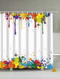 Polyester Shower Curtains 2018 Colorful Paint Splatter Waterproof Polyester Shower Curtain
