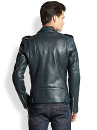 padded motorcycle jacket blk dnm leather moto jacket in green for men lyst