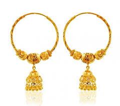 gold jhumka hoop earrings 22k yellow gold bali earrings ajer59923 22k gold designer
