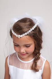 communion veil white communion veil with floral shaped pearls tiara