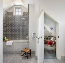 grey subway tile bathroom beach with clerestory windows kids room