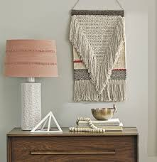 decorating interior home decor with beige tapestry wall hangings