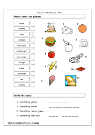 vocabulary matching worksheet food english for children