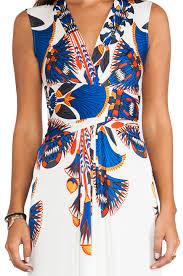issa sleeveless wrap maxi dress in blue lyst