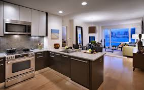 modern kitchen items natural wooden flooring in modern kitchen with dark brown