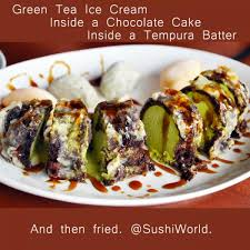 green tea ice cream inside chocolate cake inside tempura fried
