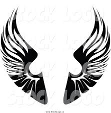 wings clipart logo design pencil and in color wings clipart logo