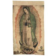 our lady of guadalupe small faux cactus textile banner the