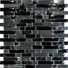 SFBlack Marble  Crackle Glass Linear Mosaic Tile Backsplash - Linear tile backsplash