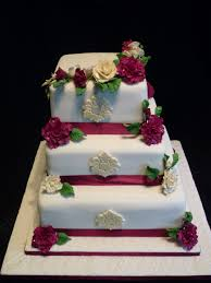 3 Tier Wedding Cake 3 Tier Burgundy Rose Wedding Cake Supercakes Diane Fry