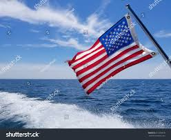 Boat Flag Poles American Flag On Pole Boat Wake Stock Photo 671029870 Shutterstock