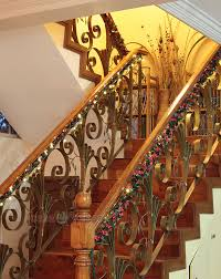 Christmas Decorations Banister Christmas Decorating Idea Garlands And Lights On The Stair
