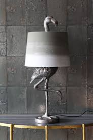 antique silver flamingo table lamp with grey u0026 white shade from