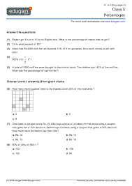 grade 5 math worksheets and problems percentages edugain global