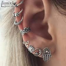 cartilage cuff earrings 1 set 7 8pcs antique silver moon leaf shapes tragus helix ear