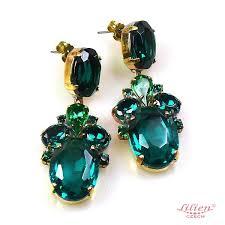 dramatic earrings dramatic earrings pierced emerald lilien authentic
