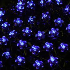 qurosy small solar 5 meters 50 blue flowers decorate the christmas