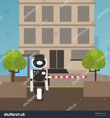 domestic robot security guard standing entrance stock vector