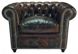Rustic Leather Armchair Tufted Chesterfield Leather Chair Foter