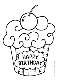 Coloring Pages For Birthdays Printables | cake happy birthday party coloring pages muffin coloring pages for