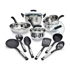 essential home 14 piece stainless steel cookware set