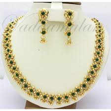 necklace with green stone images Ethnic indian short necklace with earring set micro gold plated jpg