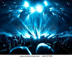 silhouettes concert crowd front bright stage stock photo 494737795