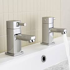 ibathuk pair of and cold basin sink mixer taps chrome