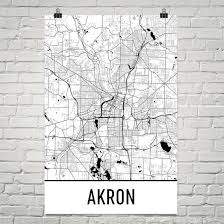 of akron map akron ohio map poster wall print by modern map
