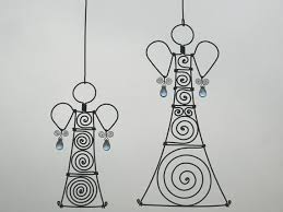metal ornaments a pair of wire in blue by mywireart