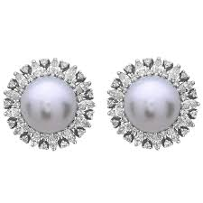 pearl diamond earrings south sea pearl diamond studs at 1stdibs